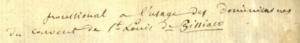 "Nineteenth-century note identifying the manuscript as a, ""processional a l'usage des dominicaines du couvert de St-Louis de Pissaico."" Poissy processional, Bryn Mawr College, front pages"